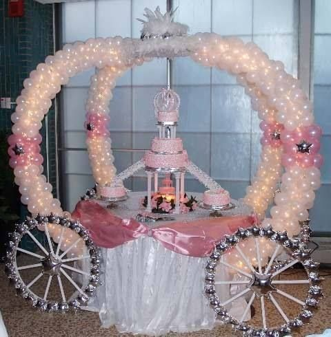 Sweet 16 carriage balloon decor