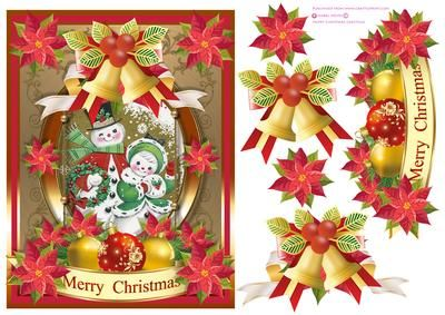 Happy Christmas Greetings on Craftsuprint designed by Isabel Neves - Happy Christmas Greetings Decoupage Card Front Topper and Sentiment.Sentiment Tag Reads: Merry Christmas - Now available for download!