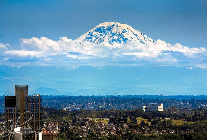 Mount Rainier towering over Seattle