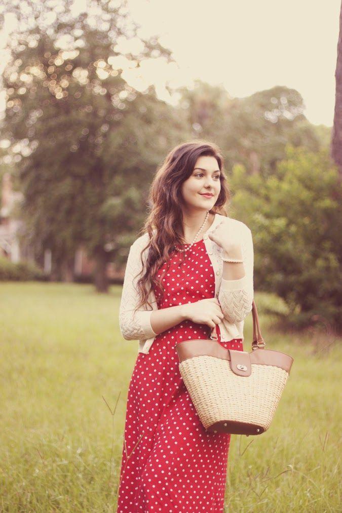 red polka dot summer dress #modest #style #fashion