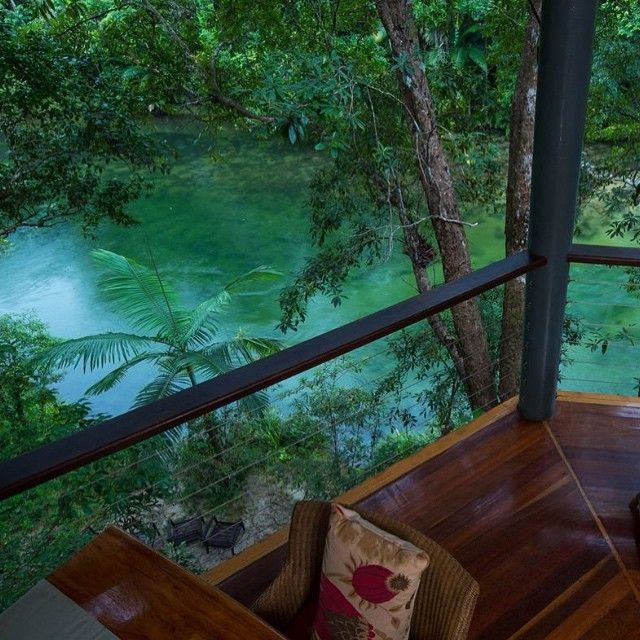 A relaxing afternoon in the Jungle Perch of Silky Oaks Lodge, high above the Mossman River #thisisqueensland by @silkyoakslodge