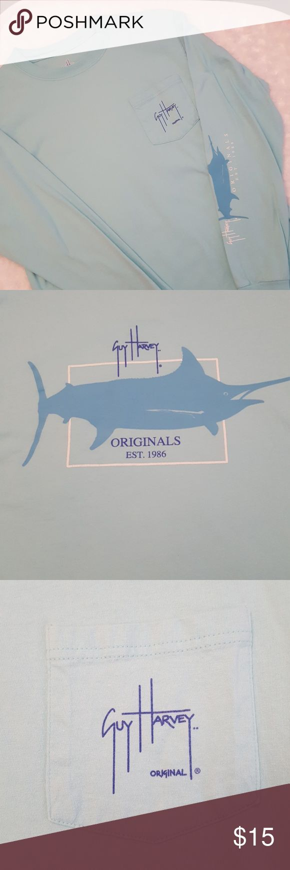 Aqua colored Long Sleeve, Guy Harvey shirt! This shirt is super soft and is in euc! You can see what the back of the shirt looks like in the second photo. It has a pocket on the left side of the chest. No stains or flaws. Guy Harvey Shirts Tees - Long Sleeve