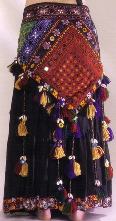 Gorgeous embroidered patchwork tassel belt with shisha mirrors & cowry shells. Part of my ATS wardrobe.