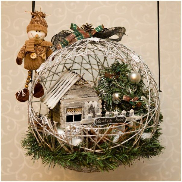 These yarn string balloon ball or basket are so fabulous arranged for Christmas decorations, they are either hanged, or sit on a base, with Christmas eleme.  So many ideas with this craft!