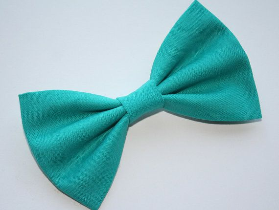 Teal Hair Bow or Teal Bow Tie   Teal Bows  by BarberShoppe on Etsy