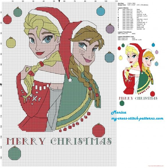 Elsa and Anna Merry Christmas cross stitch pattern