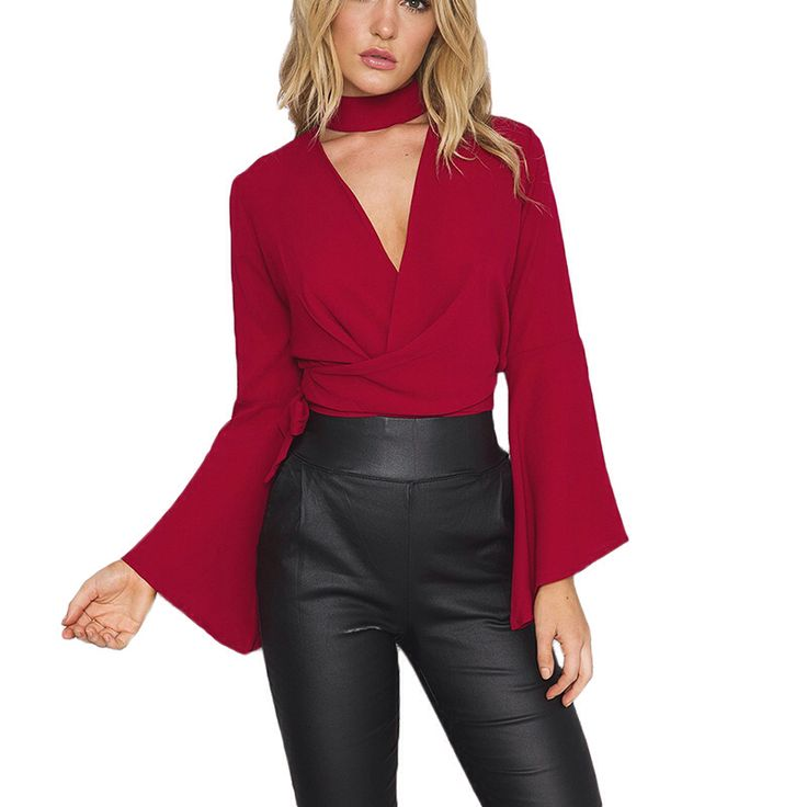 Choker Sexy Cross Diepe V-hals Boog Sjerpen Rode Vrouwen Blouse herfst Stijl Casual Feestavond Tops Meisje Shirt Elegant Blusas 2016