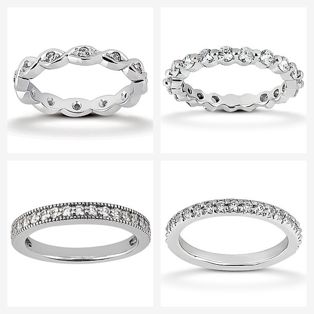 Diamond Eternity settings: They look amazing stacked! Which style would you pick?  They can be made in White, Yellow or Rose Gold.  www.samuelkleinberg.com