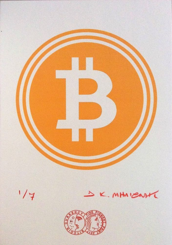 """""""BIT COIN"""" Signed 1/7 Limited Edition Giclee Pigment Print 2017 Cryptoart g #PopArt"""