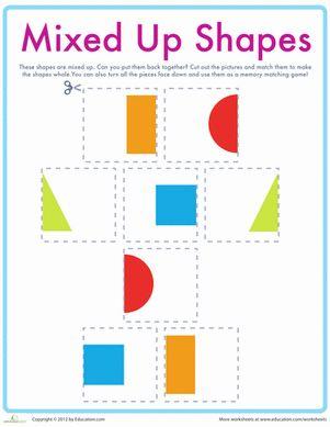 Preschool Shapes Sorting & Categorizing Worksheets: Match the Shapes