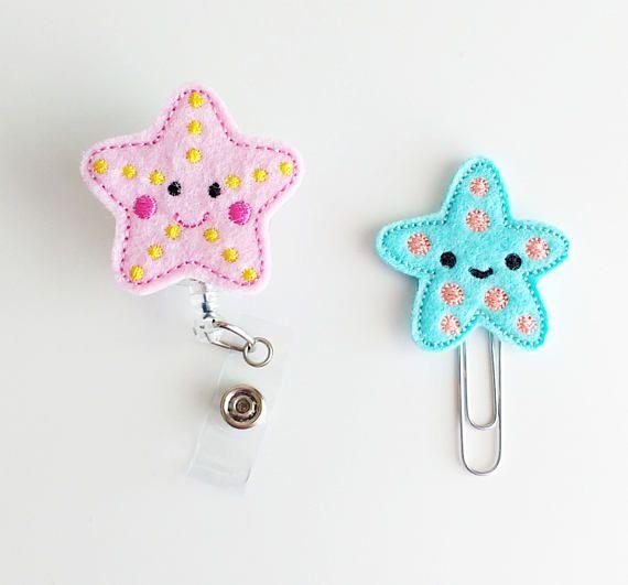 Starfish Felt Paperclip | Badge Reel | ID Badge Holder | Lanyard | Planner Clip | Planner Accessories | Beach Felties | Summer Felties