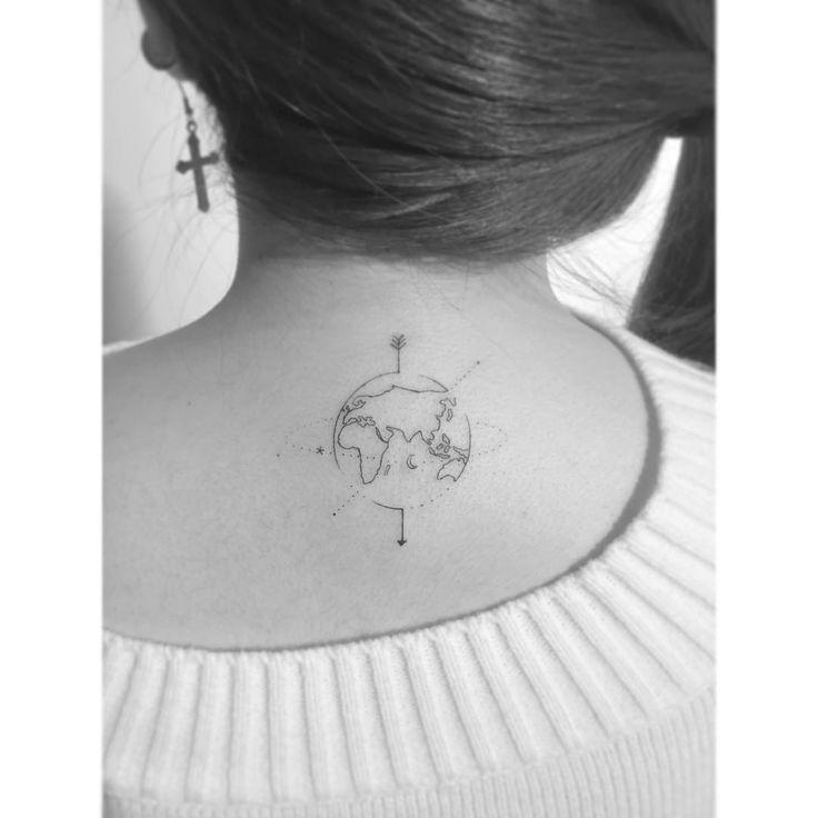 . . World map. . #tattoo #tattoos #tattooartist #smalltattoo #design #girlstattoo #koreatattoo #linetattoo #linework #inked #tattooed #ink #art #illustration  #일러스트 #tattooer #drawing #미니타투 #korea #타투 #홍대 #아트 #플레이그라운드타투 #감성타투 #레터링타투 #홍대타투 #playgroundtattoo