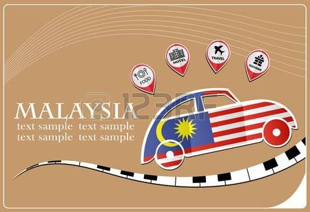 car icon made from the flag of Malaysia