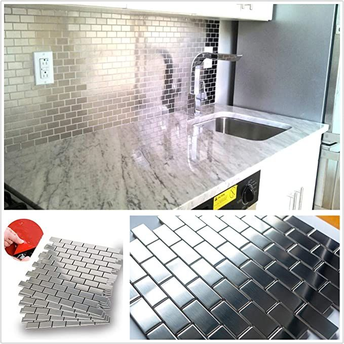Amazon Com Homeymosaic Subway Stainless Steel Surface Peel And Stick Tile Backsplash In 2020 Stick Tile Backsplash Stainless Steel Tile Backsplash Peel And Stick Tile