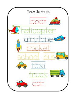 preschool printables transportation december pinterest minis words and trains. Black Bedroom Furniture Sets. Home Design Ideas