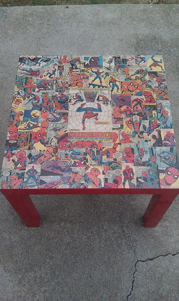 Mod podge Spiderman Marvel Comics Side Table