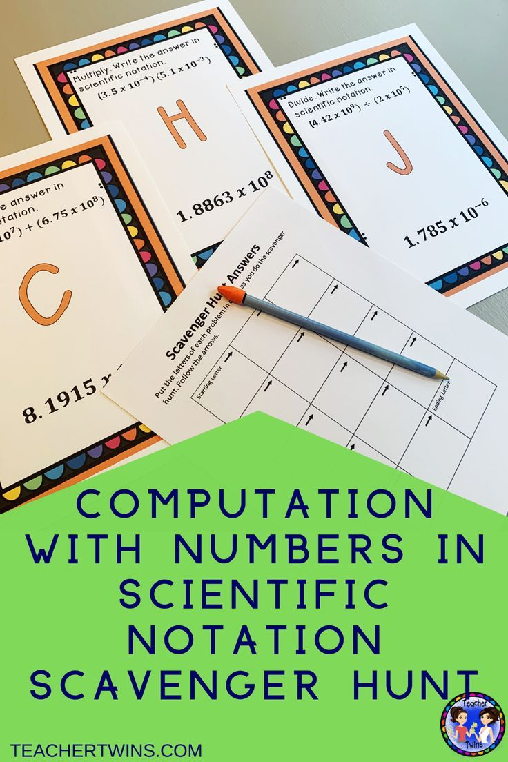 Computation With Numbers In Scientific Notation Scavenger Hunt Scientific Notation Notations Maths Activities Middle School [ 1104 x 736 Pixel ]