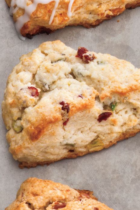 Stir in 1⁄4 cup sweetened dried cranberries and 1⁄4 cup coarsely chopped roasted salted pistachios with the cream. Recipe: Cranberry-Pistachio Scones