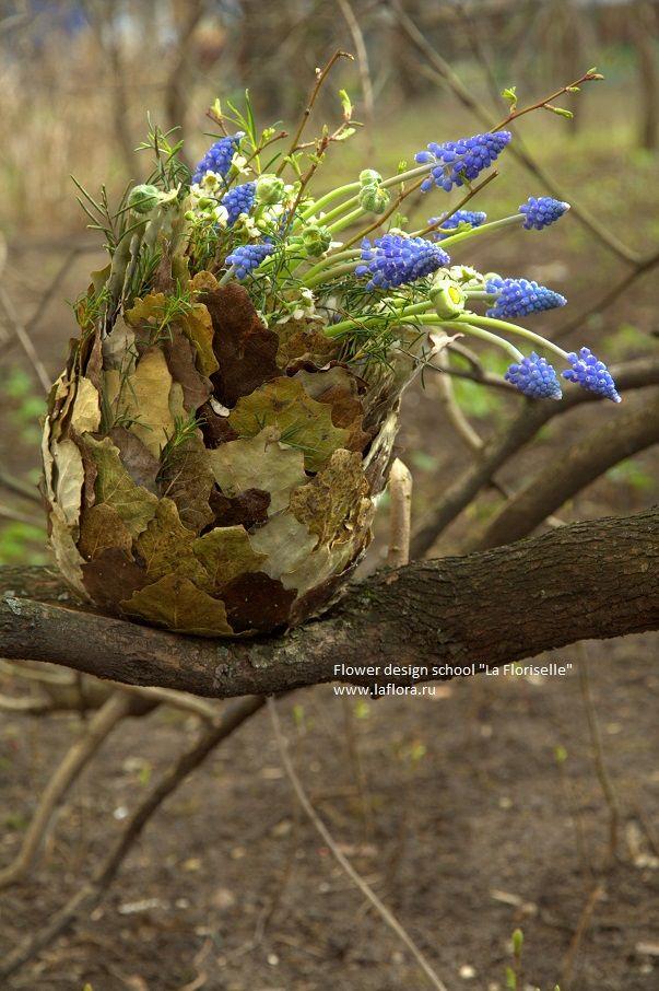 """Сегодня с занятий. Волшебная весенняя почка. Flower design school """"La Floriselle"""""""