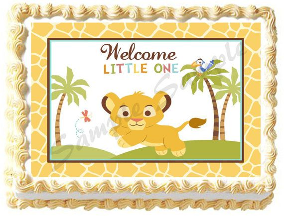 BABY LION KING Edible image cake topper 1/4 sheet, 1/2 sheet, cupcakes and more sizes available