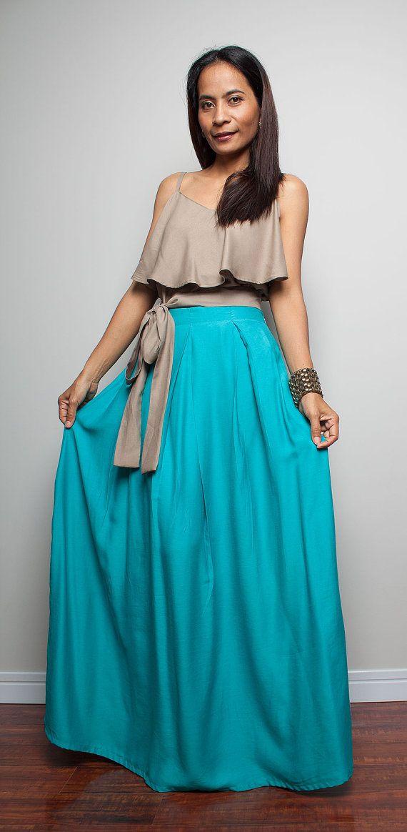 Long Skirt  Floor Length Turquoise Maxi Skirt  Feel by Nuichan, $55.00