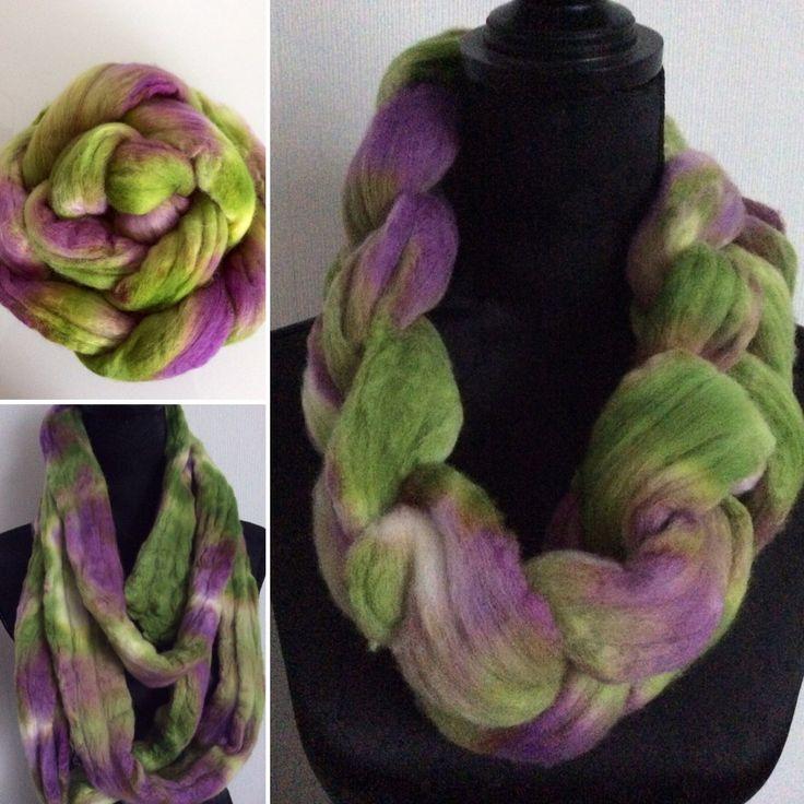 Kammzug, handgefärbt, lila/grün von FilzWollLust auf Etsy