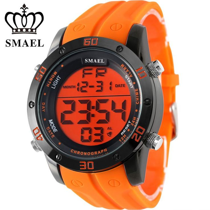 Fashion Casual Watches Men Orange LED Digital Watches Sports Alloy Clock Male Automatic Date Watch Army Men's Wristwatch WS1145 WOW  #shop #beauty #Woman's fashion #Products #Watch