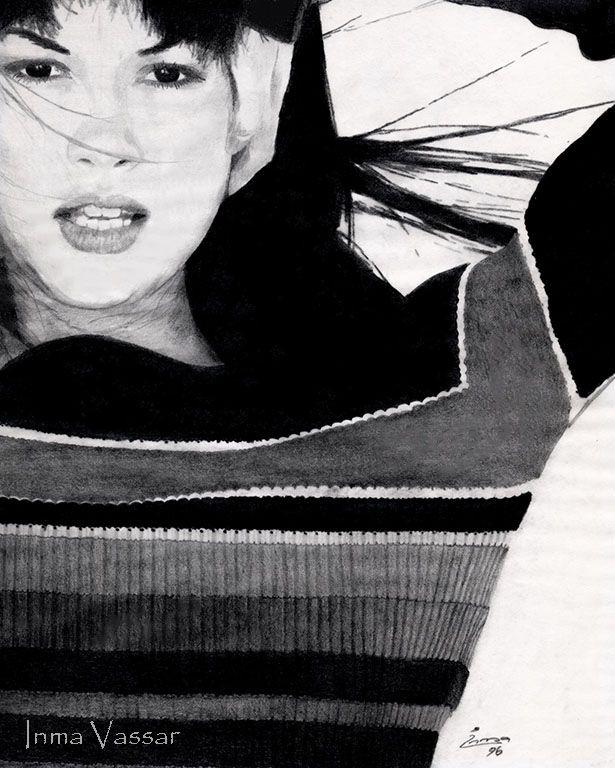 Black & White Jumper Graphite Drawing by Inma Vassar