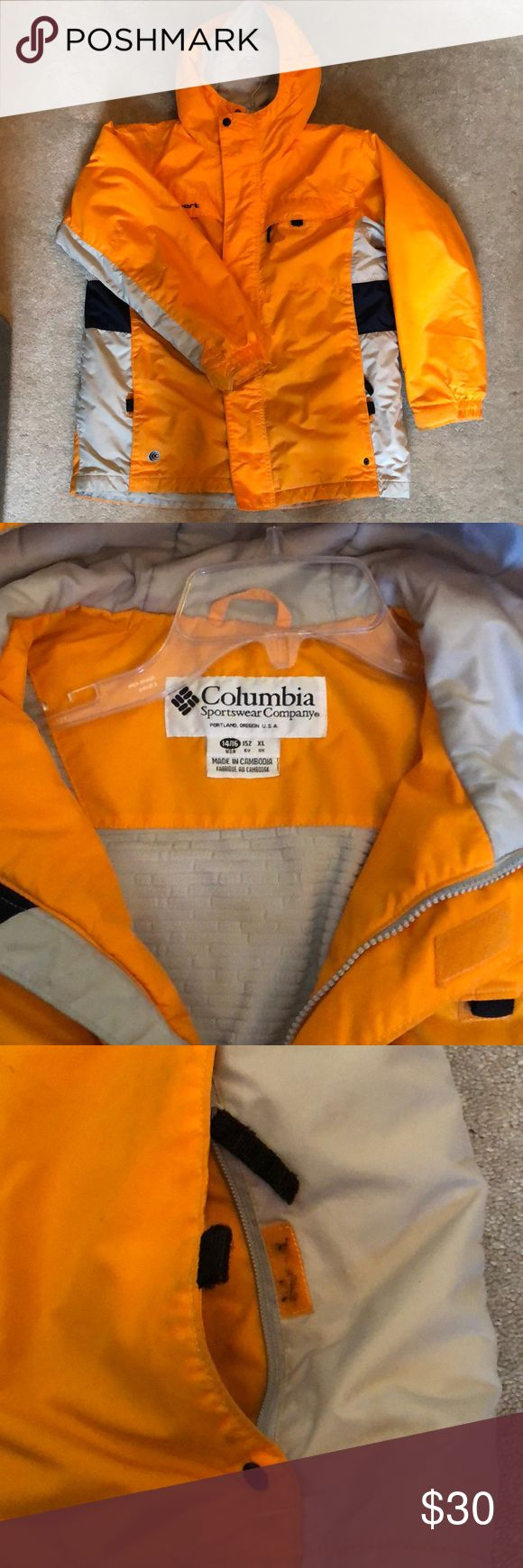 Columbia Sportswear Orange Ski Coat Columbia Sportswear Ski/Winter Coat. Juniors size XL. I am a women's medium and I mostly wore this skiing. Small hole in top right shoulder as pictured. Good condition only worn couple times. Smoke Free, Pet free home.   Make an Offer 💁🏼🎉 Columbia Jackets & Coats