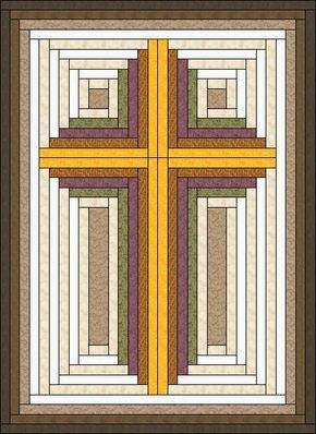 Log Cabin Christian Cross – Cross quilt – wall hanging – multiple sizes – PDF Download