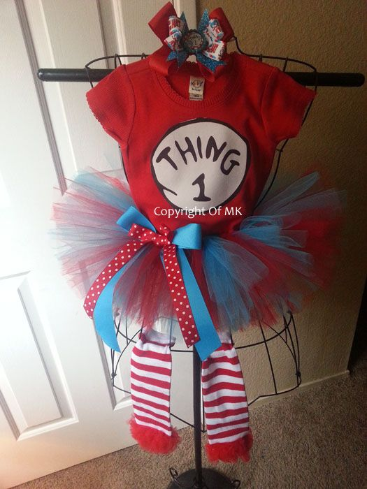 Thing 1 Thing 2 and Thing 3 Tutu Costumes For Girls