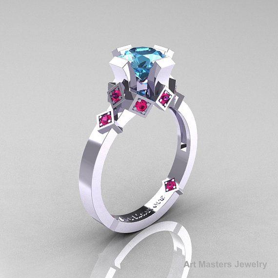 Modern Armenian Bridal 10K White Gold 1.0 Blue Topaz by artmasters, $699.00