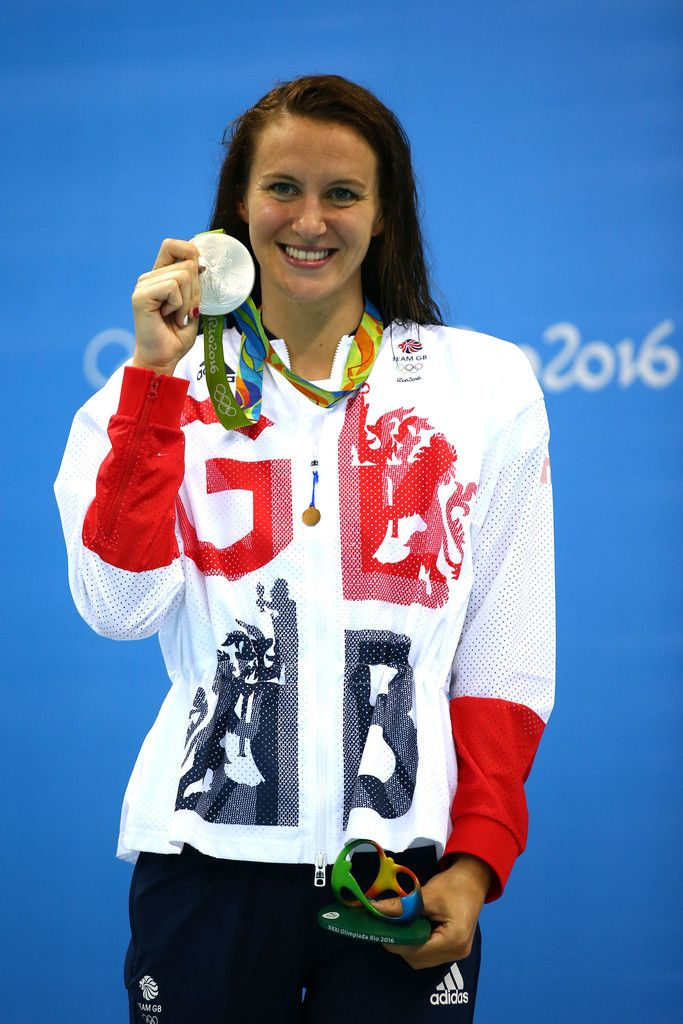 Jazz Carlin of Great Britain celebrates on the podium after winning silver in the Women's 800m Freestyle Final on Day 7 of the Rio 2016 Olympic Games at the Olympic Aquatics Stadium on August 12, 2016 in Rio de Janeiro, Brazil.