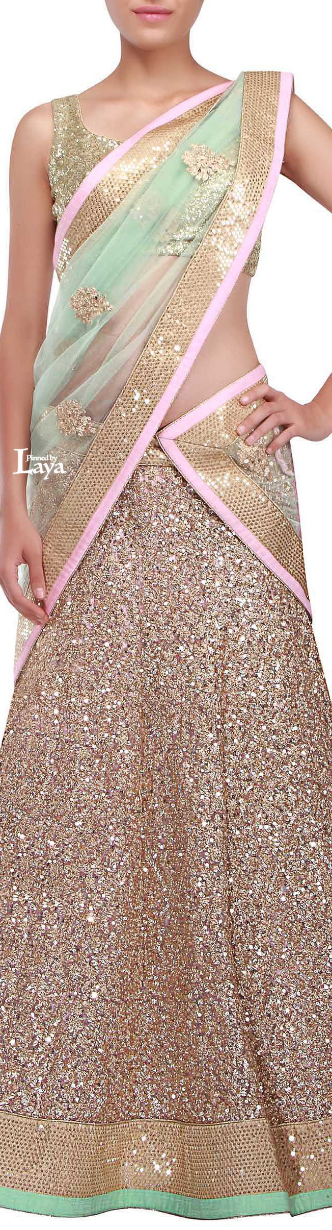 Sparkle in this gold sequin bridal lehenga. Indian bride, wedding outfit ♔LAYA♔BRIDAL LEHENGA♔