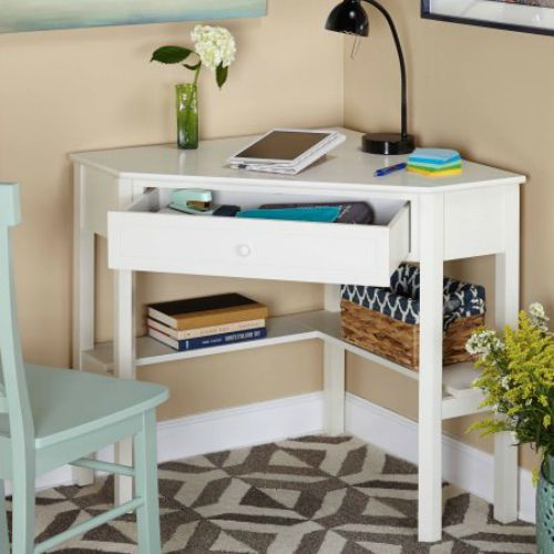White Computer Desk Space Saving Office Workstation Wood Drawer Writing Table  #TMS #Contemporary