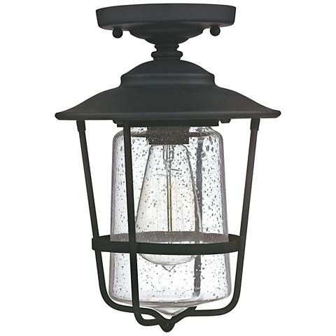 """$96 Creekside 8 1/4""""W Black Clear Glass Outdoor Ceiling Light"""