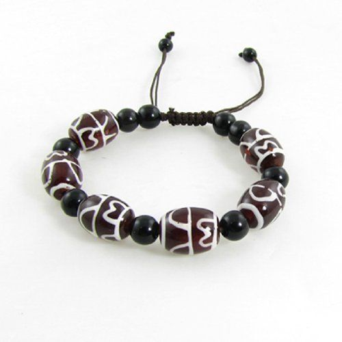 "Rosallini Tibetan DZI Beads Amulet Bracelet w Adjustable String Rosallini. $4.58. Bracelet Girth (Approx) : 16-26cm / 6.2""-10.2"";DZI Bead Size : 1.5 x 1.1cm / 0.6"" x 0.4"". Product Name : Tibetan DZI Beads Bracelet;Material : Plastic. Package : 1 x DZI Beads Bracelet. Round Bead Diameter : 0.8cm / 0.3"";Color : Brown, White, Black. Weight : 28g"