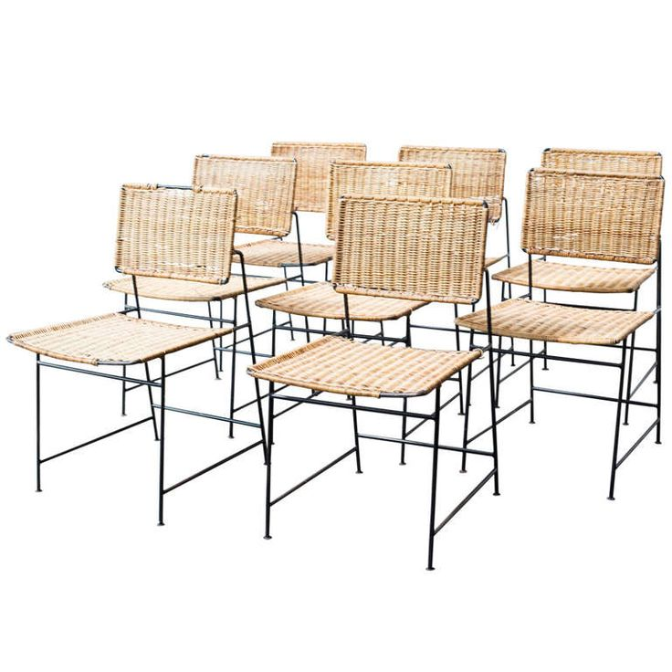 Herta maria witzemann rattan and wire dining chairs for Modern metal dining room chairs
