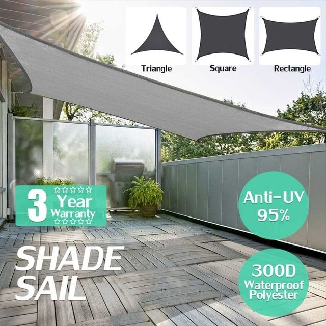 300d Waterproof Polyester Rectangle Awning Sun Shading Net Sun Shade Sail Outdoor Sun Shelter Black Grey Color Re Patio Sun Shades Sun Sail Shade Outdoor Shade