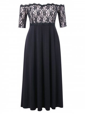 fca1a2cd755 Shop for Black 2x Plus Size Lace Panel Off Shoulder Dress online at  32.73  and discover fashion at RoseGal.com Mobile