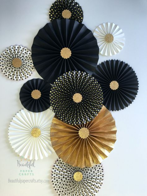 New Year's wedding decor | Gold glitter rosettes | Black and gold rosette background | Graduation Party Decorations | Paper fan background