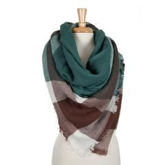 Teal, Maroon and White Plaid Blanket Scarf