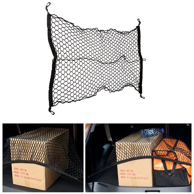 70*70cm Nylon Car boot string car back seat Storage Organizer Net Rear Tail Mesh Cargo With 4 Hooks for SUV/RV Hatchback Trunk