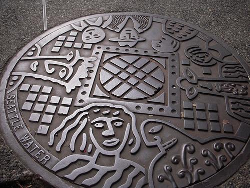 Seattle, USA.  Manhole cover