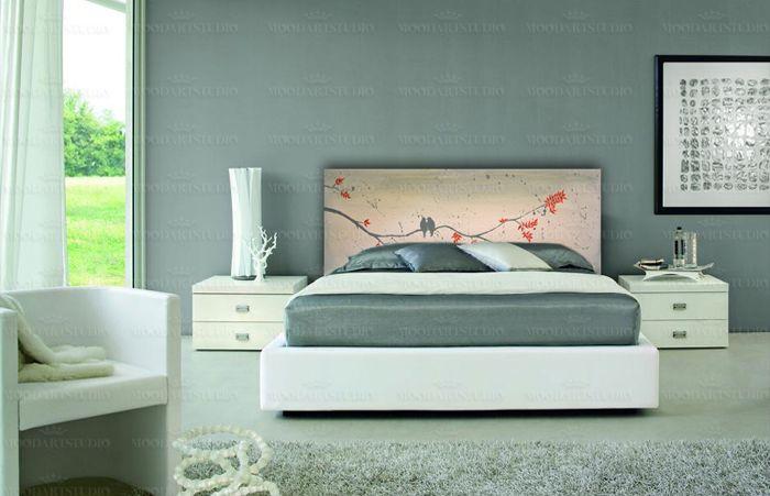 Cabecero de cama minimalista estilo provenzal pintado a - Cabecero cama pintado ...