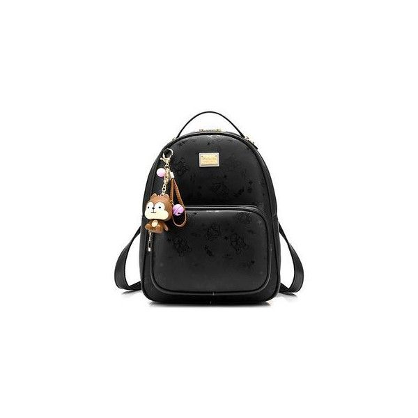 Faux-Leather Backpack (490.125 IDR) ❤ liked on Polyvore featuring bags, backpacks, accessories, fake leather bag, beibaobao, fake leather backpack, day pack backpack and faux leather backpack