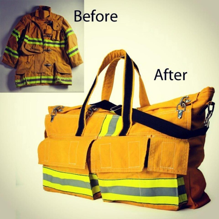 Evon Cassier will take an old jacket or item of clothing and repurpose it into a bag for you. This overnighter was a firefighter's present to his wife.