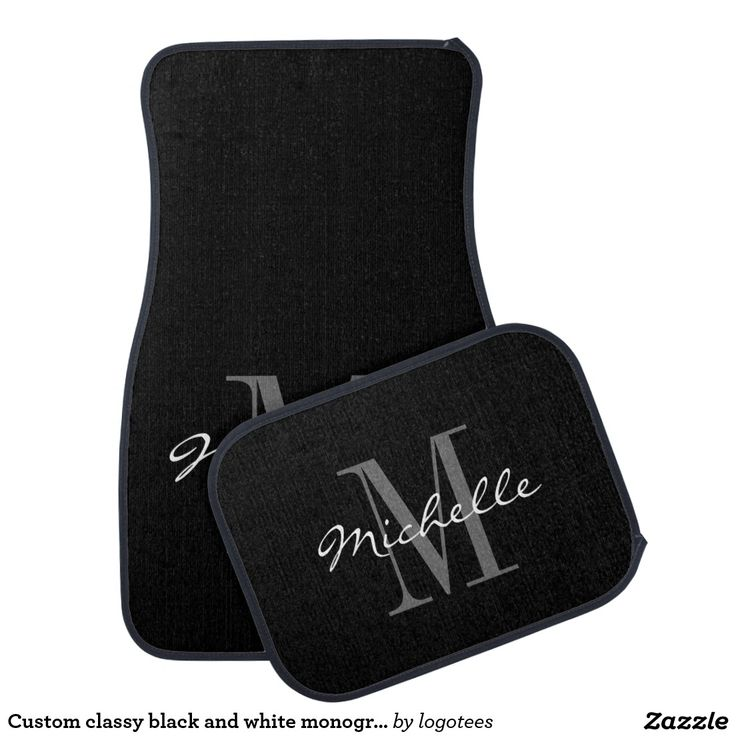 Custom classy black and white monogram car mat set - Car Floor Mats and Automobile Accessories