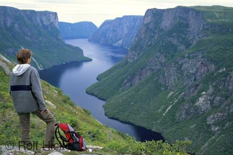 A tourist looks out over Western Brook Pond situated in Gros Morne National Park in Newfoundland, Canada. A photo of a hiker looking over Western Brook Pond situated in Gros Morne National Park of Newfoundland, Canada.