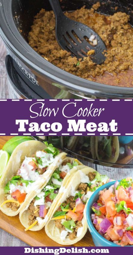 Slow Cooker Taco Meat is a super easy version of your favorite weeknight dinner. Spices, onion, and lean turkey slowly marinate together while they cook, giving you a hot dinner at the end of the day. There's a little kick of spice, but not too much. And it's enough to feed a full house, or have leftovers for later!